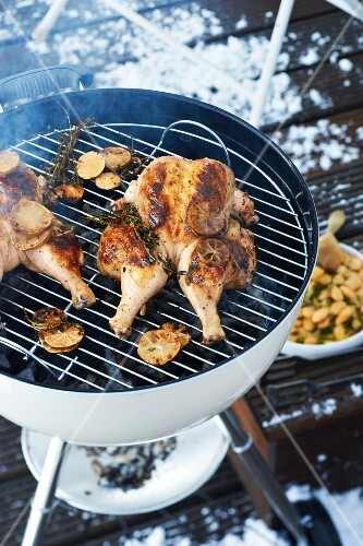 Winter barbecue chicken with lime and oriental spices