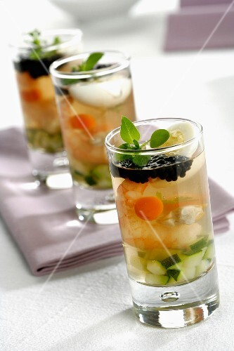 Prawn aspic with caviar and vegetables