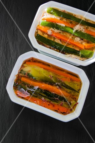 Two terrines with courgette and carrots
