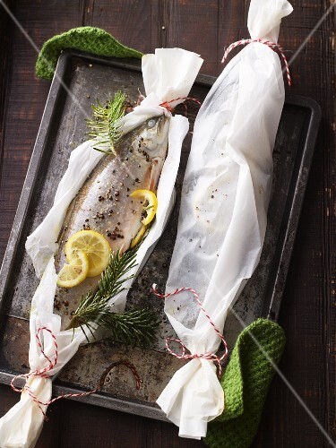 Brook trout with lemons, vegetables and sprigs of fir, wrapped in parchment, on a baking tray