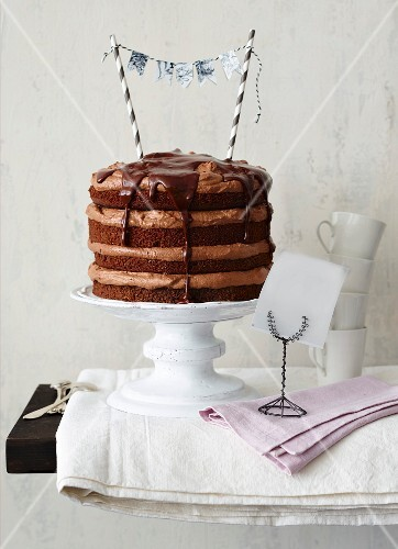 Chocolate and blackcurrant layer cake for a birthday