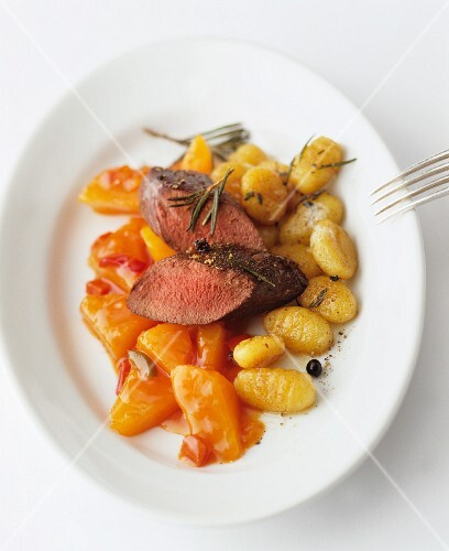 Lamb fillet with squash and gnocchi