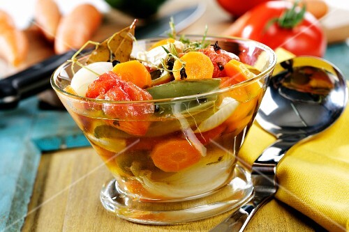Marinated vegetables (carrots, peppers, spring onions) with spices