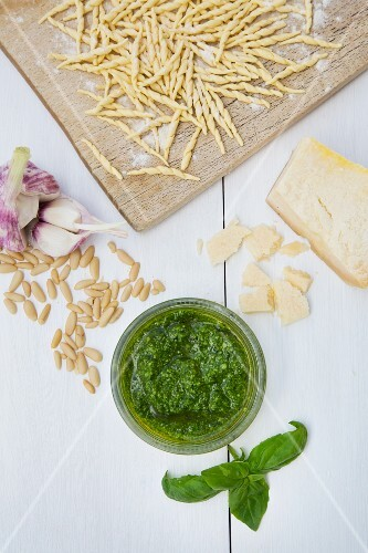 Pesto alla genovese with ingredients, and trofie pasta