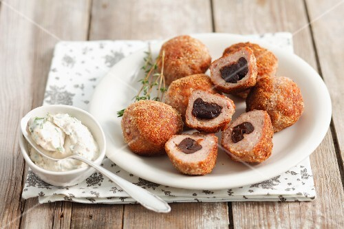 Turkey meatballs filled with prunes