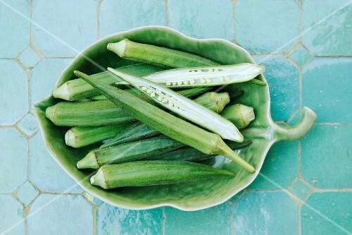 Okra in a leaf-shaped bowl