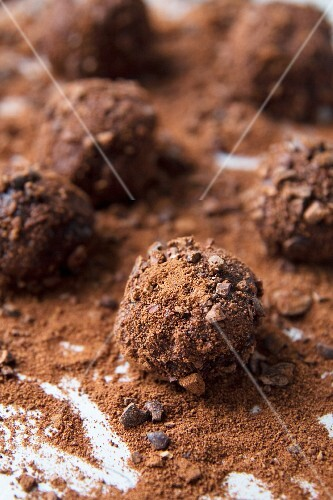 Truffles with cocoa nibs