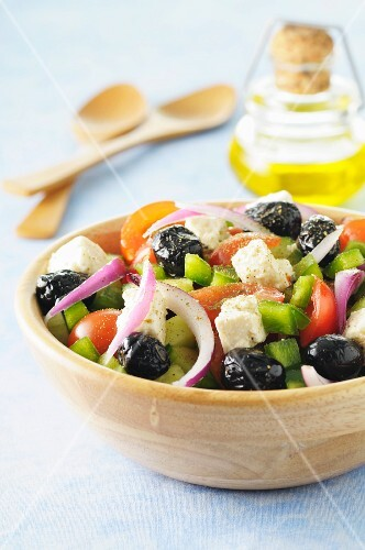 Greek salad with feta and olives