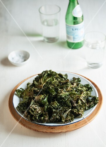 Deep-fried kale and mineral water