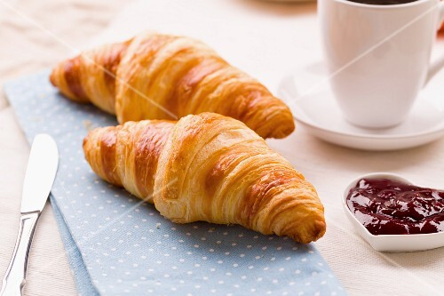 Croissants with raspberry jam
