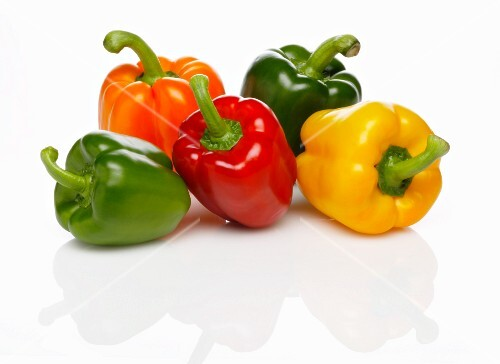 Five peppers (green, red, yellow and orange)