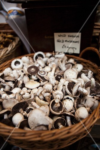 Fresh mushrooms in a basket at the market