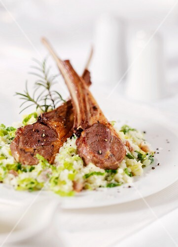 Lamb chops on couscous