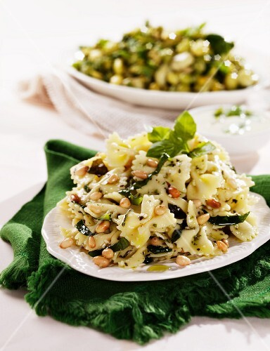 Pasta salad with pine nuts and basil