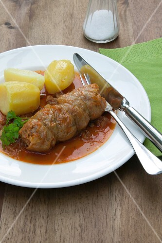 Venison roulade with boiled potatoes