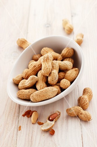 Peanuts in a white bowl