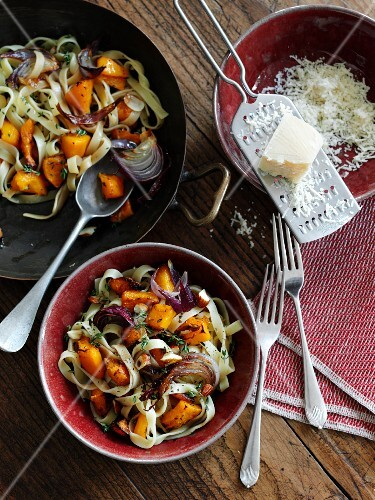 Tagliatelle with baked squash and grated parmesan