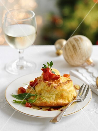 Twice-baked goat's cheese soufflé for Christmas