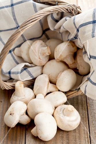 White mushrooms in and next to a basket