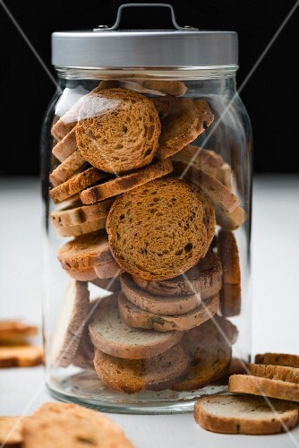 Biscotti in a storage jar
