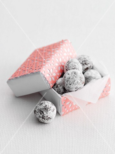 Chocolate truffles in a pink box