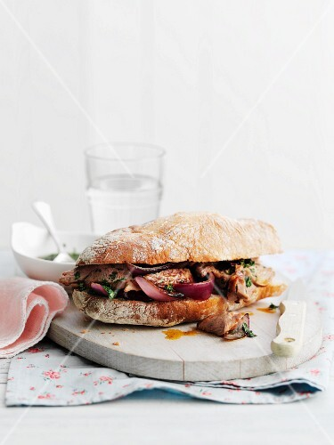 Lamb steak and onion sandwich
