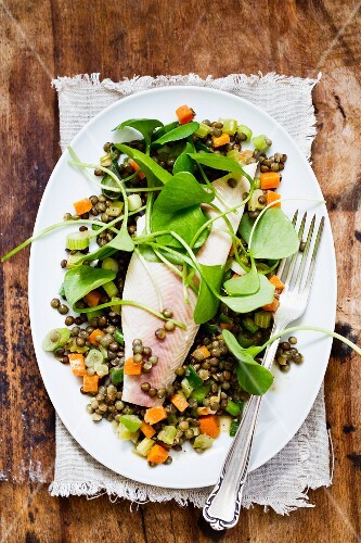 Lentil salad with smoked trout and purslane