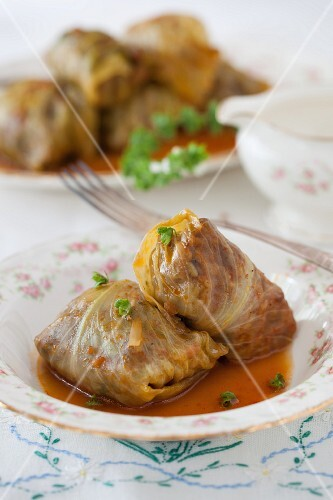 Cabbage roulade filled with minced meat