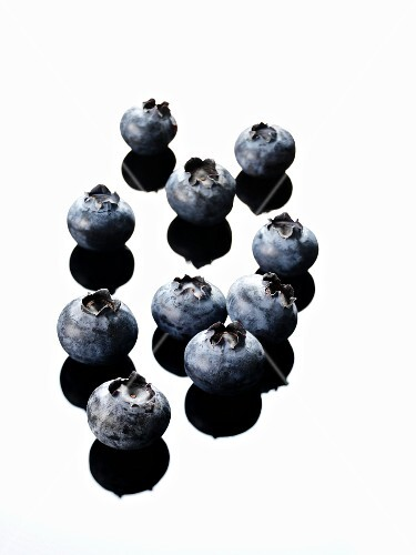 Several blueberries (black and white image)