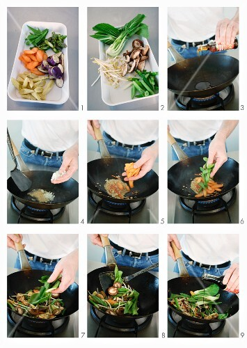 Vegetables being cooked in a wok
