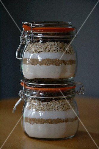 Oatmeal raisin cookie mix in preserving jars