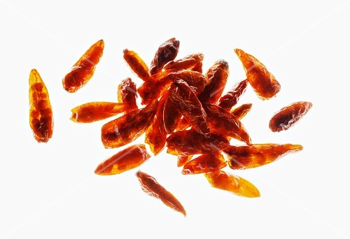 Dried chilli peppers, seen from above