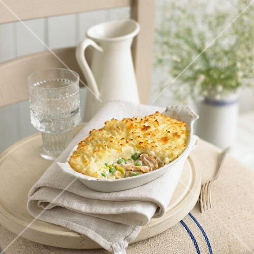 Chicken pie in a dish