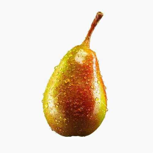 A pear with drops of water