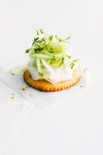 A cracker topped with trout and cucumber