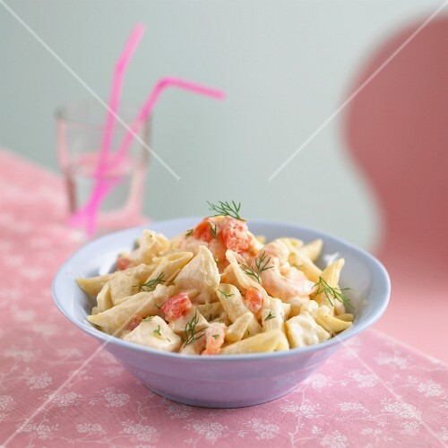Penne with cod and prawns