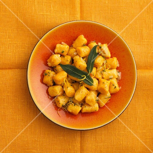 Gnocchi with sage and lemon zest (view from above)