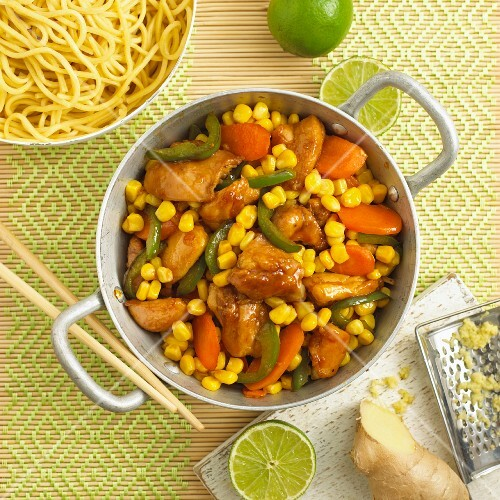 Chicken with ginger, limes and colourful vegetables