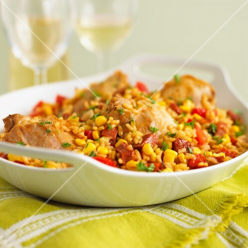 Chicken with rice, chorizo, sweetcorn and peppers (Spain)