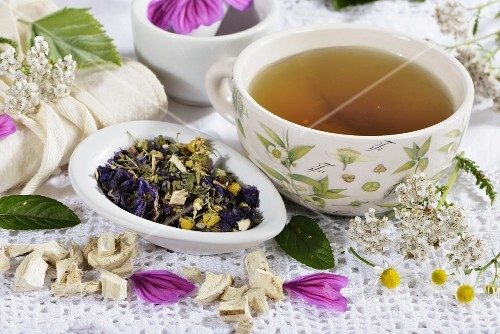Herbal tea made from flowers, herbs and medicinal plants