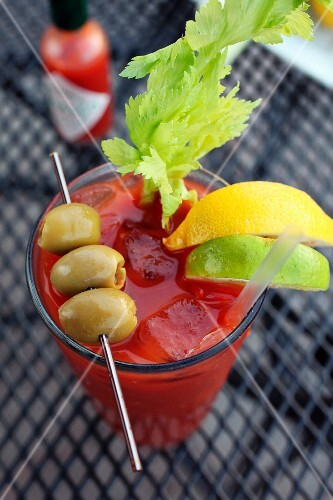 A bloody mary cocktail from above
