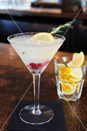 Lemon rosemary martini with cranberries