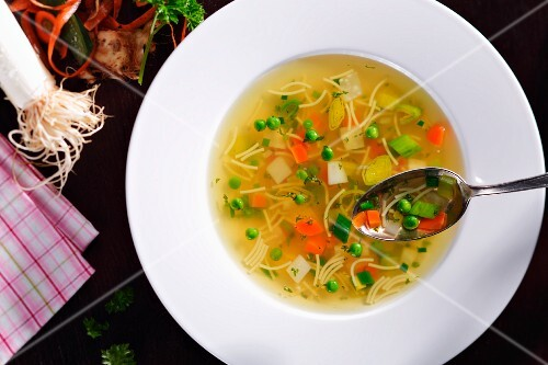 Noodle soup with vegetables (view from above)