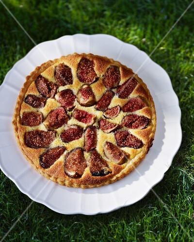 Fig tart on a plate