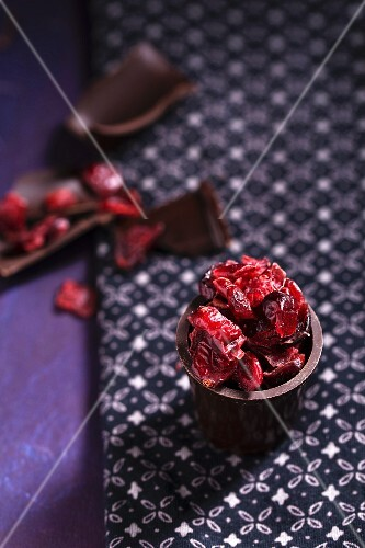 Cranberries in a chocolate cup