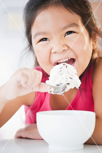 Korean girl eating ice cream