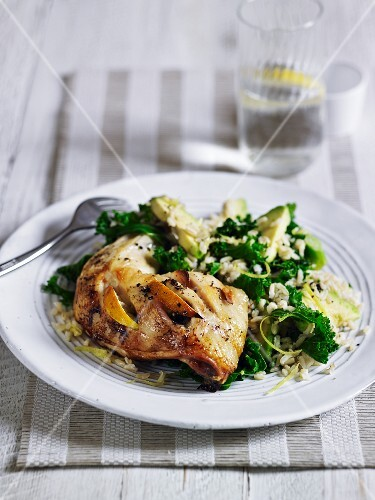 Lemon chicken with rice and kale