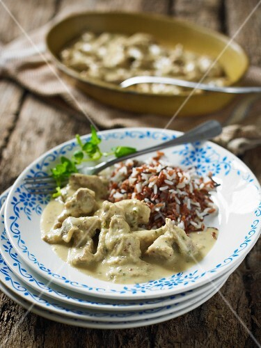 Pork in mustard sauce, served with rice