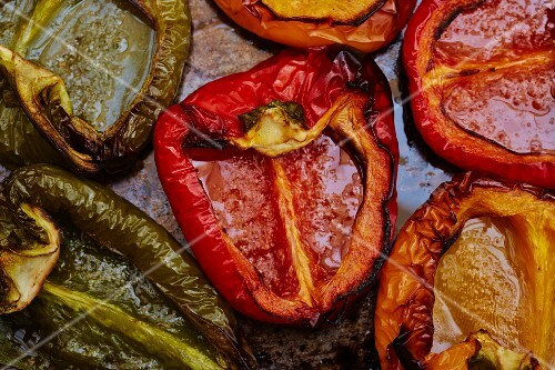 Roasted peppers on a baking tray