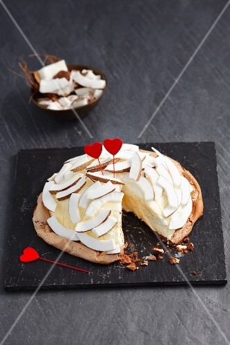 Coconut ice cream torte with heart decoration